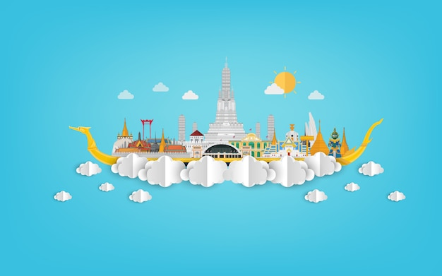 Amazing thailand with attractions on blue papercut illustration Premium Vector
