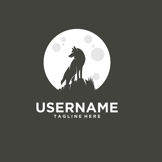 An amazing vector silhouette of the wolf and moon Premium Vector