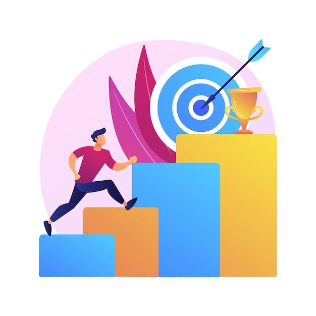 Иллюстрация абстрактной концепции амбиций. деловые амбиции, целеустремленность, постановка большой цели, стремительная карьера, уверенность в себе, получение желаемого, стремление к успеху Бесплатные векторы