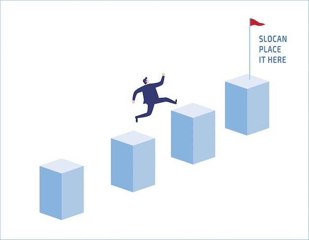 Ambition businessman jump on graph columns. Premium Vector