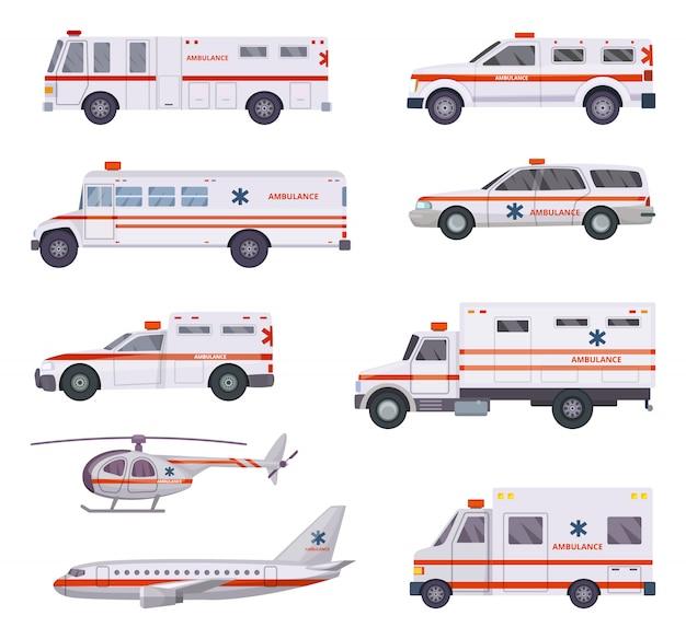 救急車。健康救助サービス車バンヘリコプター救急救命救急病院緊急自動911ベクトル漫画写真 Premiumベクター