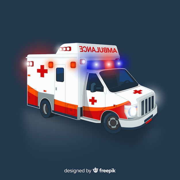 Ambulance concept in flat style Free Vector