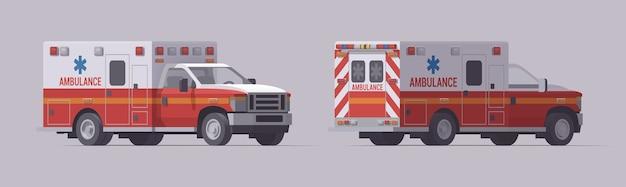 救急車緊急トラックセット。孤立した救助車。正面図と背面図。 Premiumベクター