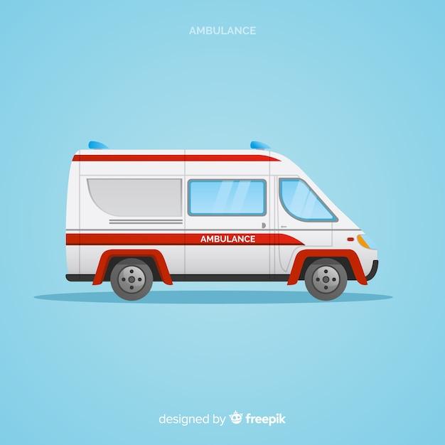 Ambulance in flat design Free Vector