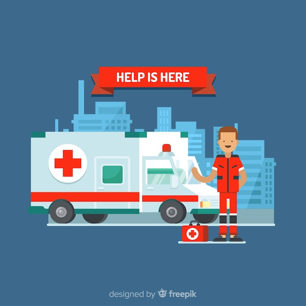 Ambulance in flat design Free Vector