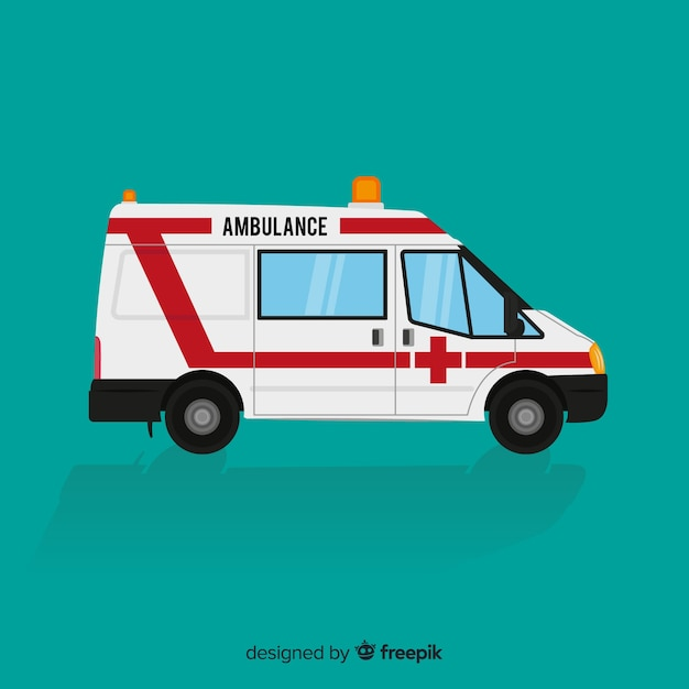 Ambulance in flat style Free Vector