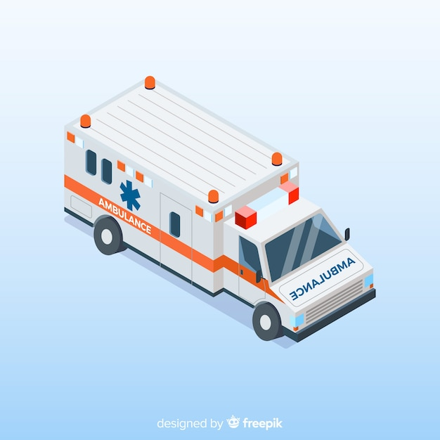 Ambulance in isometric style Free Vector