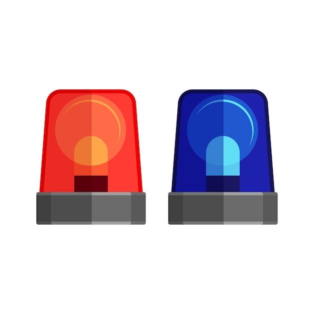 白で隔離の救急車のライト。警告灯とサイレンが点滅します。青と赤の警察のビーコン。警報または緊急の場合のための救急車のフラッシャー。フラットスタイルのアラート点滅ライト。 Premiumベクター