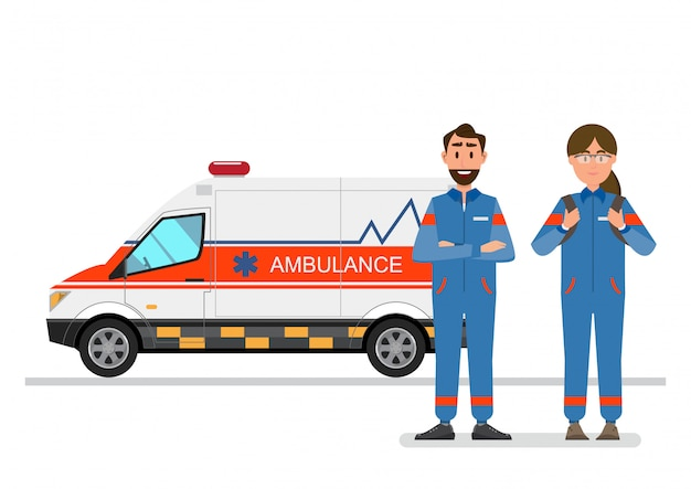 Ambulance medical service carrying patient with man and woman staff Premium Vector