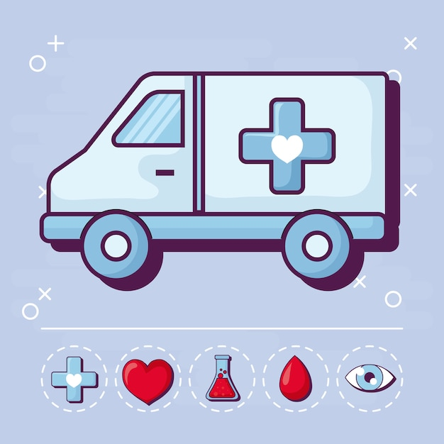 Ambulance and medical Free Vector
