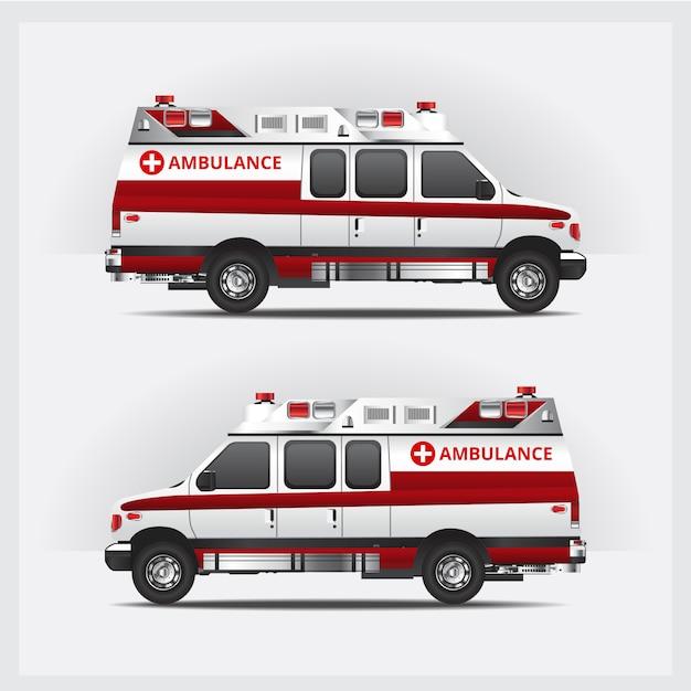 Ambulance service car isolated illustration Premium Vector