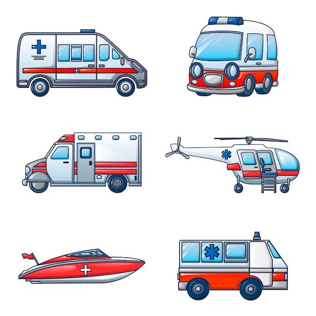 Ambulance transport icons set Premium Vector