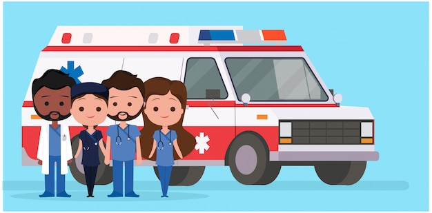 Ambulance with medical characters Premium Vector