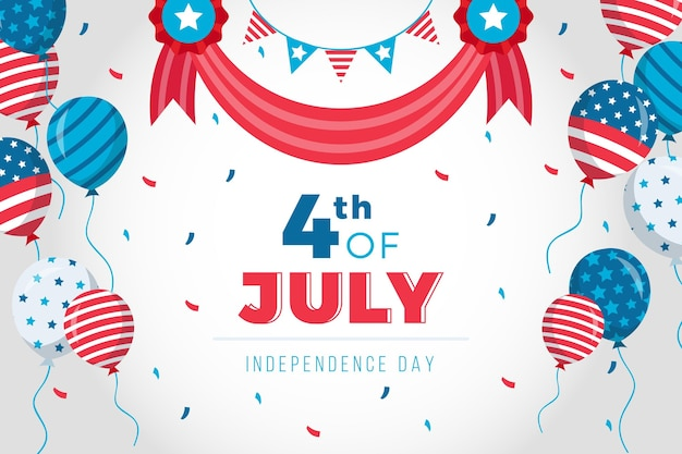 America 4th of july day with balloons background Free Vector