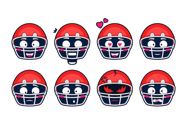 Premium Vector America Football Rugby Helmet Emoji Emotion Cartoon Set These emojis are available for use on most mobile devices as well as facebook, twitter, and other social media sites. https www freepik com profile preagreement getstarted 7308332