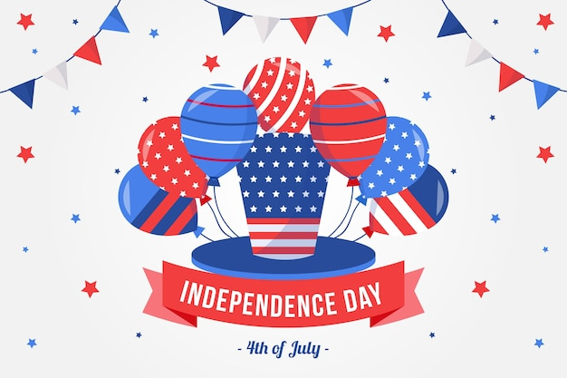 America independence day with balloons background Free Vector