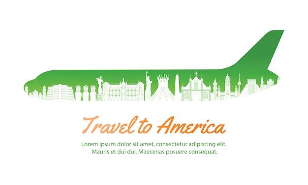 America landmark inside with plane shape,concept art Premium Vector