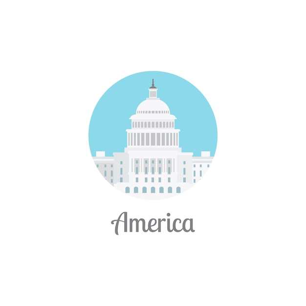 America landmark isolated round icon Premium Vector