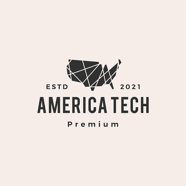 アメリカテック幾何学的な多角形ヒップスターヴィンテージロゴ Premiumベクター