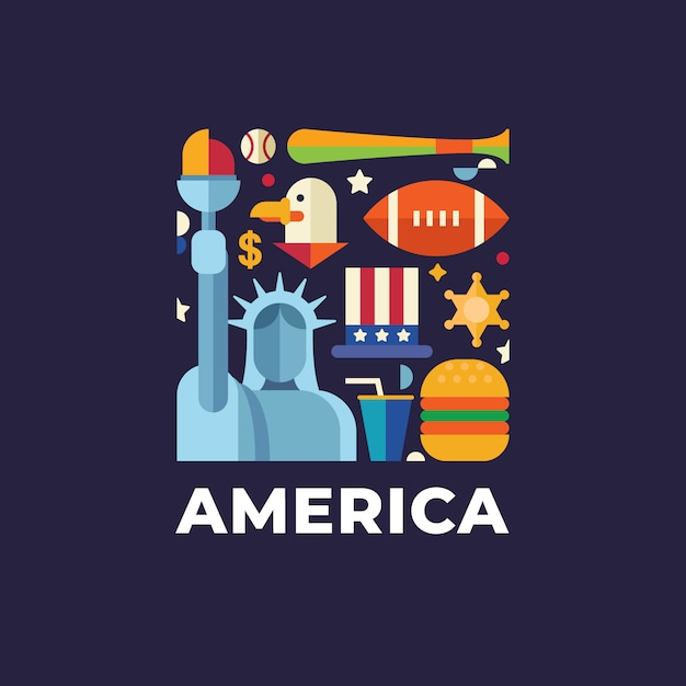 America travel country logo template Premium Vector