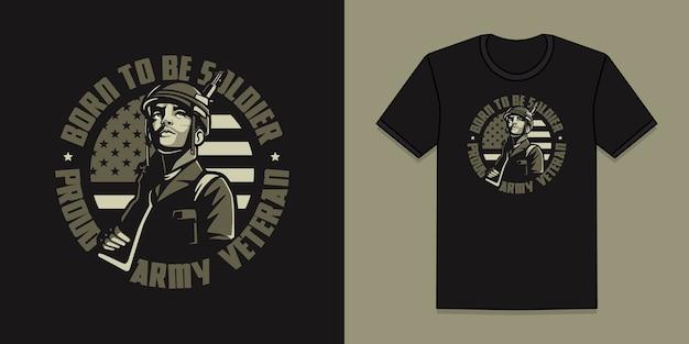 Дизайн ветеран американской армии для футболки Premium векторы