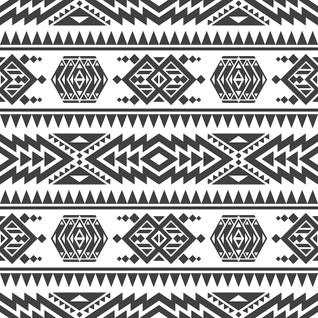 American aztec vector seamless texture. native tribal indian repetitive pattern Premium Vector