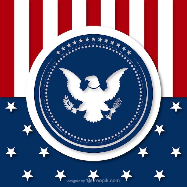 American Background With Eagle Silhouette Vector Free Download