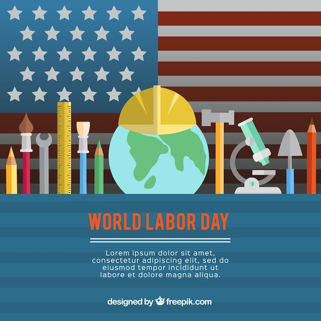 American background with labor day tools