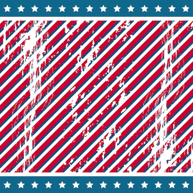 American background with stars grunge vector illustration Premium Vector