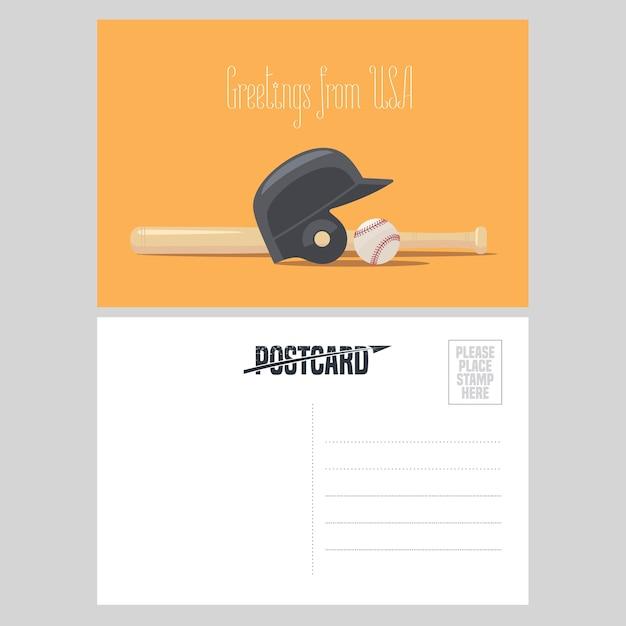 アメリカの野球用具のイラスト。野球ボールとバットでアメリカへの旅行の概念のために米国から送信された航空便カードの要素 Premiumベクター