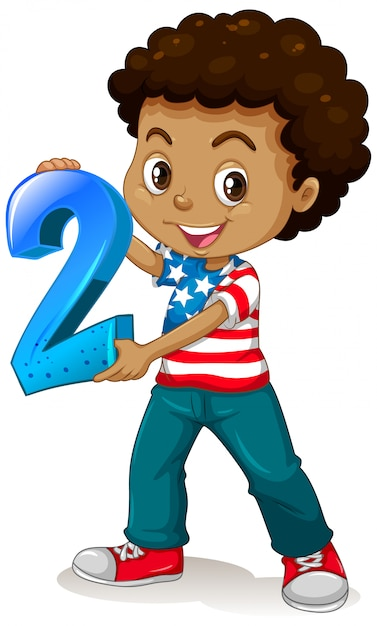 American boy holding math number two Free Vector