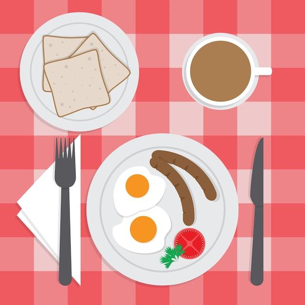 American breakfast set on the table Premium Vector