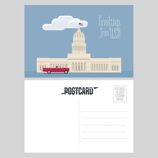 アメリカの国会議事堂のイラスト。有名なランドマークとアメリカへの旅行の概念のために米国から送信された航空便カードの要素 Premiumベクター
