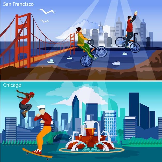 Set di illustrazione di città americane Vettore gratuito