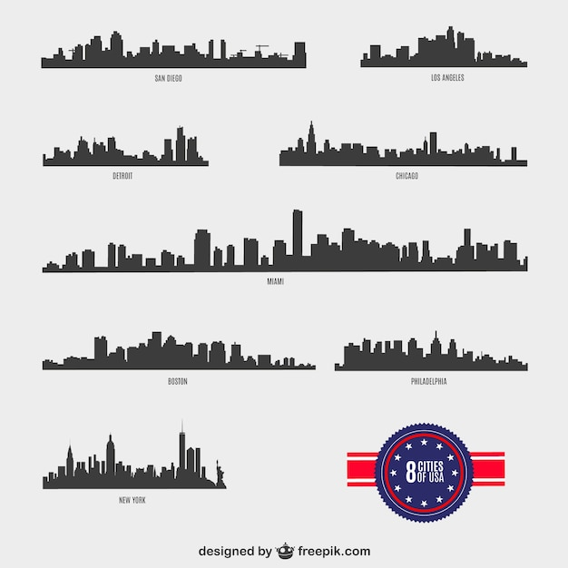 American Cities silhouettes Free Vector