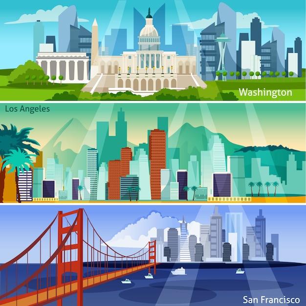 Set di bandiere di paesaggi urbani americani Vettore gratuito