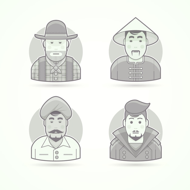 American cowboy, asian villageman, indian man, stylish guy. set of character, avatar and person  illustrations.  black and white outlined style. Premium Vector