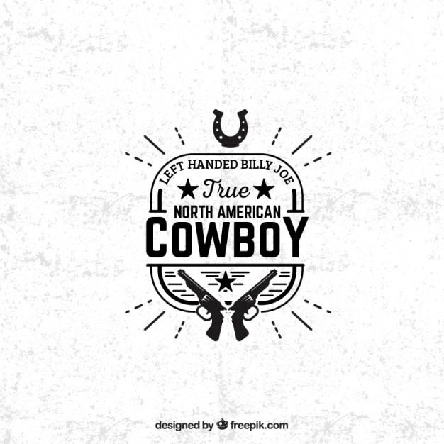 American cowboy badge Free Vector