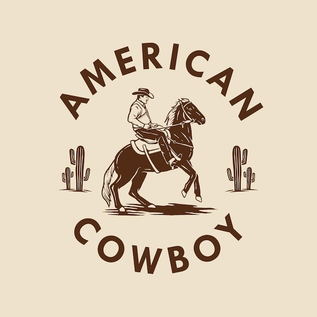 American cowboy hand drawn design Premium Vector