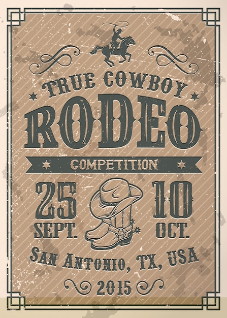 American cowboy rodeo poster with typography and vintage paper texture Free Vector