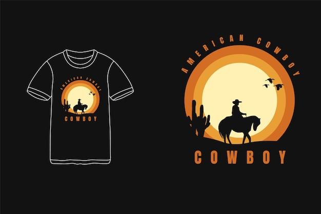 American cowboy,t-shirt typography text siluet cowboy horse cactus Premium Vector