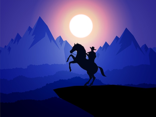 American cowboy with horse wild west moon night landscape background Premium Vector
