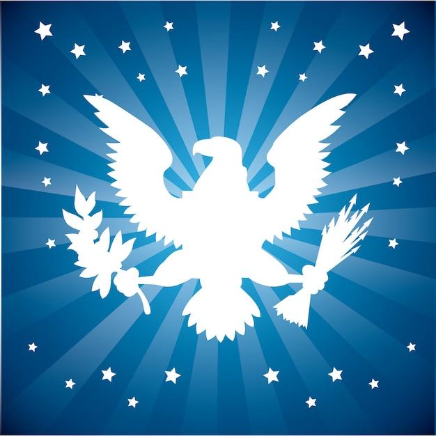 American eagle over blue sunburst Free Vector