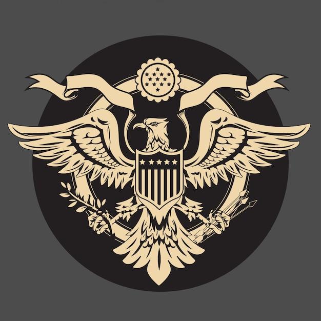 アメリカの国旗とシールドヴィンテージアメリカンイーグルエンブレム Premiumベクター