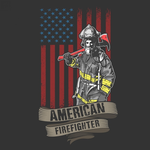 American fireman and fire fighter Premium Vector
