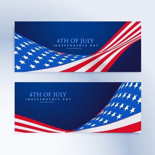 American flag 4th of july banners Free Vector