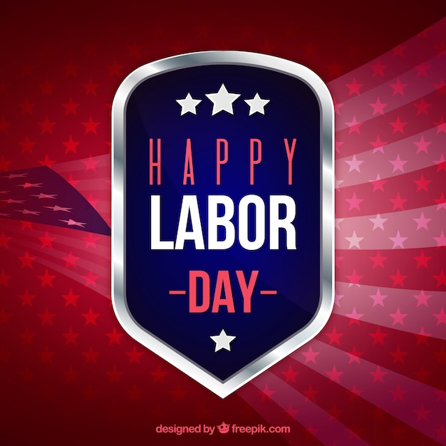 American flag abstract background and labor day\ badge