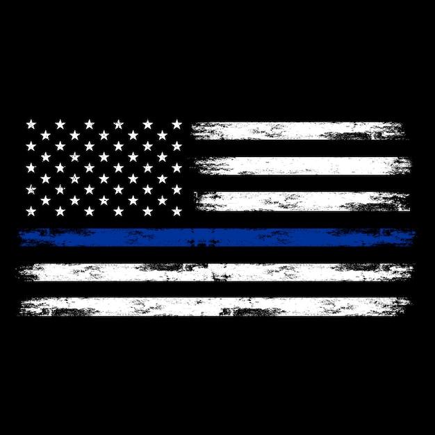 アメリカの国旗、アメリカの警察の旗、苦しめられた効果を持つ細い青い線旗 Premiumベクター