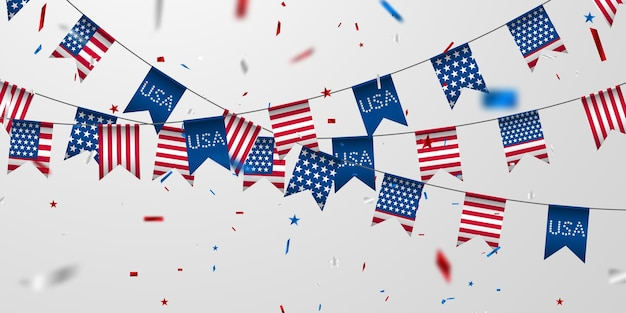 アメリカの国旗の背景。 Premiumベクター