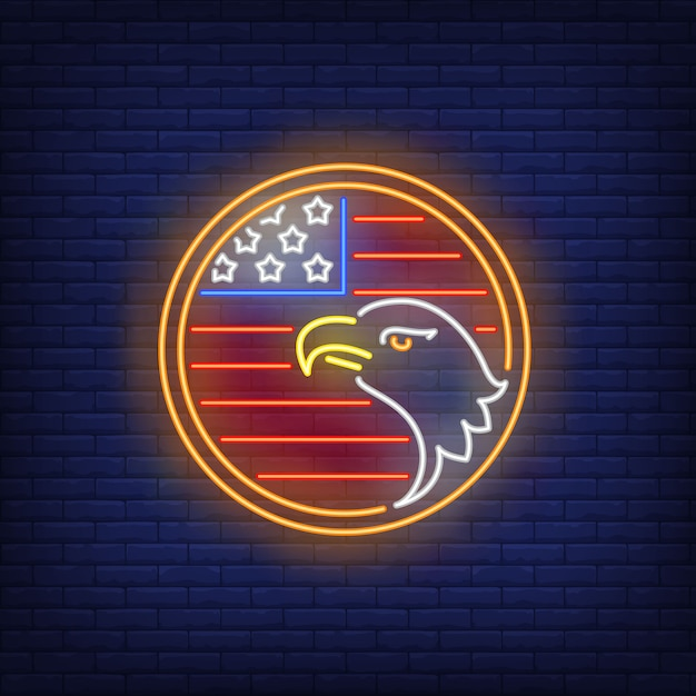 American flag and eagle in circle neon sign. usa symbol, history. Free Vector